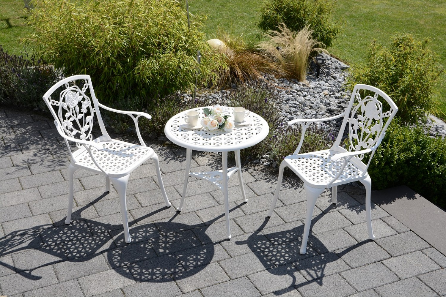 alu guss bistro set rose weiss batavia gartenm bel. Black Bedroom Furniture Sets. Home Design Ideas